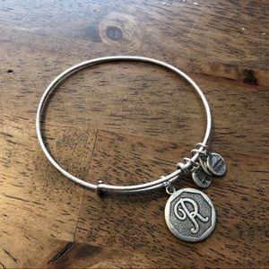 Alex and Ani R charm bracelet